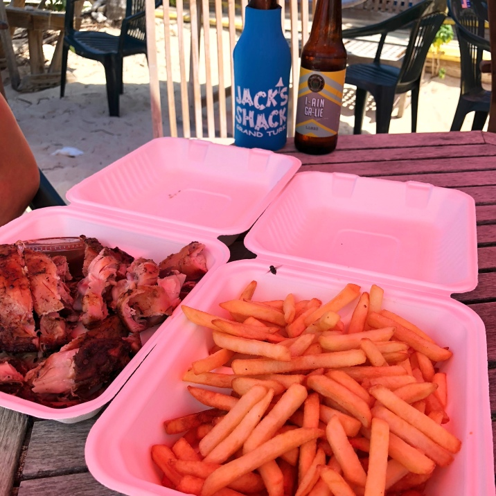 One order of jerk chicken and fries at Jack's Shack is plenty for two to share