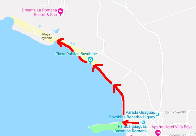 Map: Walk from guagua drop off in Bayahibe to Playa Bayahibe